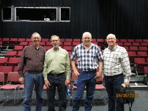 FCD Supervisors Verdell Jackson (left) and Mark Siderius (third from left) and MBMG scientists John Wheaton (second from left) and James Rose (right)