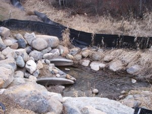 Culverts and silt fence along stream outside Kalispell, MT